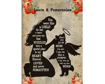 Customized My Pomeranian With Wings Vertical Poster,  Memorial Dog Poster, Dog Lover Decoration, Pet Poster, Gift for Dog Lovers
