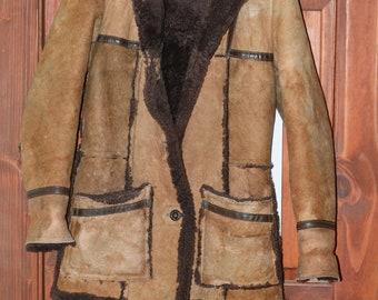 sheep skin leather coat