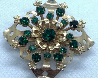 c1980s Golden Square Sparkly Rhinestone Diamante Gold Coloured Floral Vintage Statement Brooch Wedding