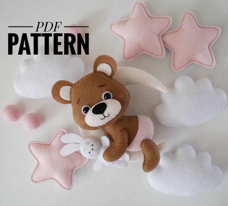 Bear moon pattern felt sewing Bear ornament DIY plush PDF pattern Animals tutorial pdf sewing pattern DIY sewing pattern Moon pattern felt