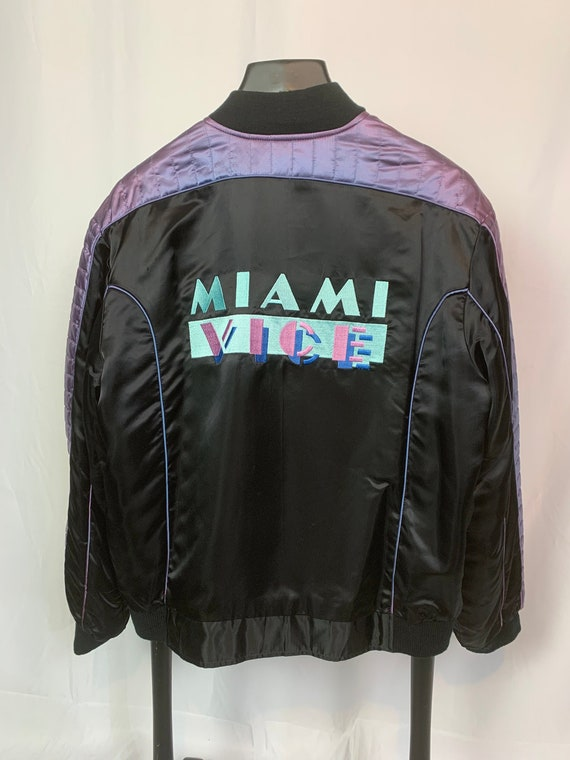 Miami Vice Satin Embroidered Bomber Jacket - XL