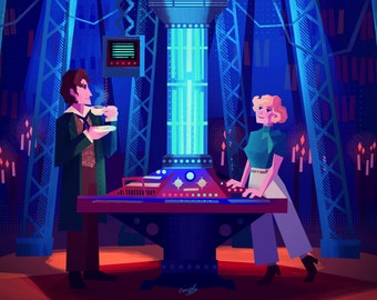 Doctor Who - 8th Doctor and Charley TARDIS team A4 print