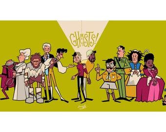 BBC Ghosts - retro cartoon characters A4 mini print