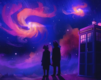 Doctor Who - 8th Doctor and Charley nebula stargazing A4 print