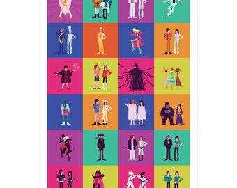The Mighty Boosh characters pop art poster - Vince Noir, Howard Moon, The Hitcher, Old Gregg