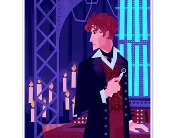 Doctor Who (8th Doctor) in steampunk TARDIS 8x10in art print