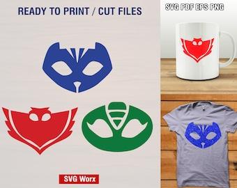 PJ Mask SVG, Owlette Svg, Catboy Svg, Gekko Svg - Cut Files, Iron on, Vector, Superhero Clipart, Dxf, Png, Silhouette, Cricut Files