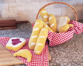 Baguette,croissant and bread catnip toys without catnip for small dogs
