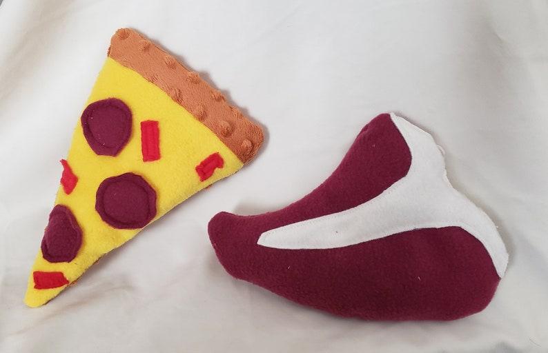 T-bone steak or pep pizza  Catnip kicker toy or dog toy image 0