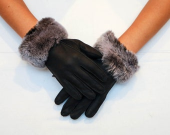 Sheepskin Gloves Real Fur Gloves Seal gray Mouton Fur Gloves With Fox Fur Cuffs Real Mouton Gloves