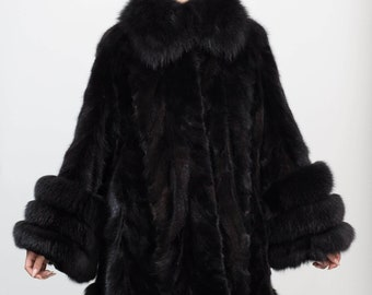 NEW Size M Real Sheared Mink Coat Luxury 100/% REAL Fur Jacket Coat with Silver FOX Trim 2379 Never worn!! Size Medium  New coat