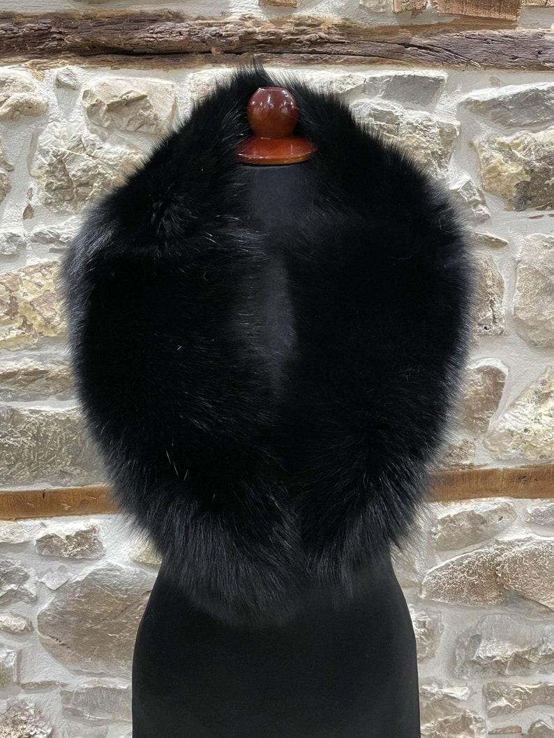 Handmade Collar Luxury Collar Black Fox Fur Collar Real Fox Fur Collar