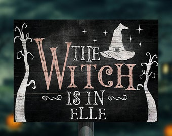 Buy 1 get 1, Personalized Witch metal sign, The witch is in wall art decor, Halloween apothecary metal sign, Witch wreath wall hanging decor