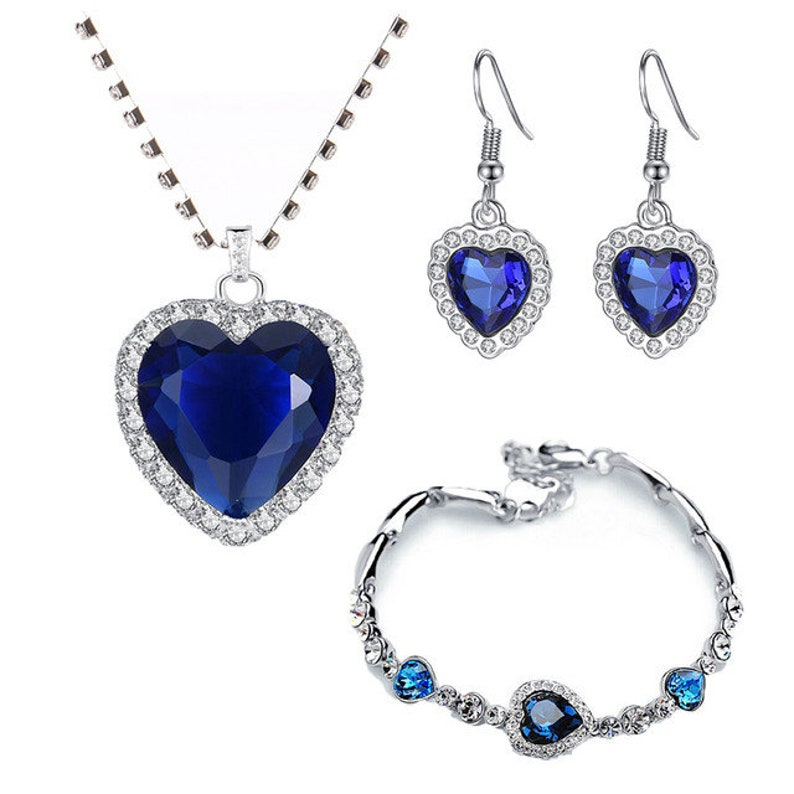 Titanic blue heart earings Blue heart necklace heart of ocean bracelet The Titanic heart of ocean necklace jewelry set jewelry for girls