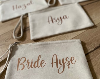 Bag bag cosmetic bag - loop - canvas cotton - case - personalized - gift JGA birthday bride