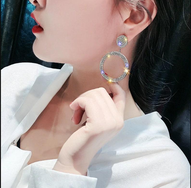 Real Pure 925 Sterling Silver Needle Long Dangle Earrings for Women Jewelry Round Rhinestone Female Drop Earrings Bijoux