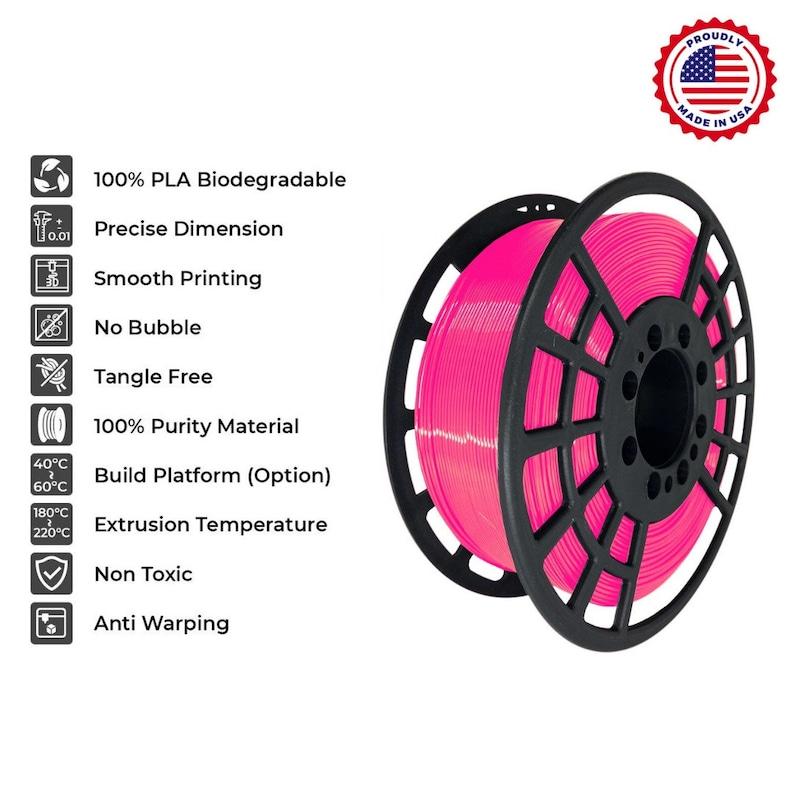 0.03 3D print filament  x 1kg 2.2 lb pink  1.75 mm PLA