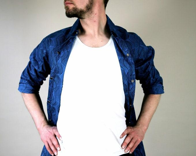 Cotton WAX shirt, M/L size, press closure