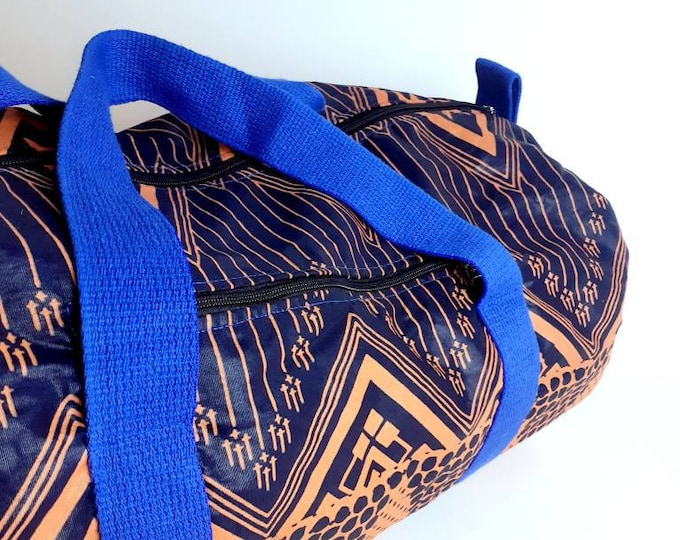 Cotton and poplin wax duffel bag, pink and blue