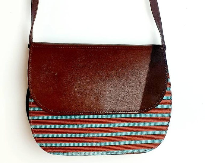 Leather, tawny and blue bag