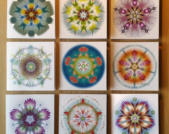 9 Mandalas wish cards, square, 5.5 inches / 125 mm