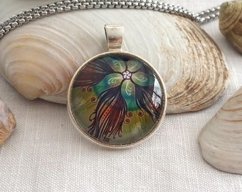 Round cabochon pendant 2,5cm with chain for woman / girl / man / DULSA MARINA