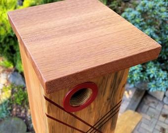 Modern Handmade Collectible Architectural Art Cedar Birdhouse