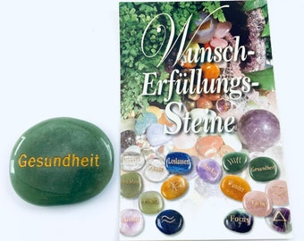 Wish and fulfillment stone from aventurine, hand flatterer and pocket stone made of aventurine natural stone