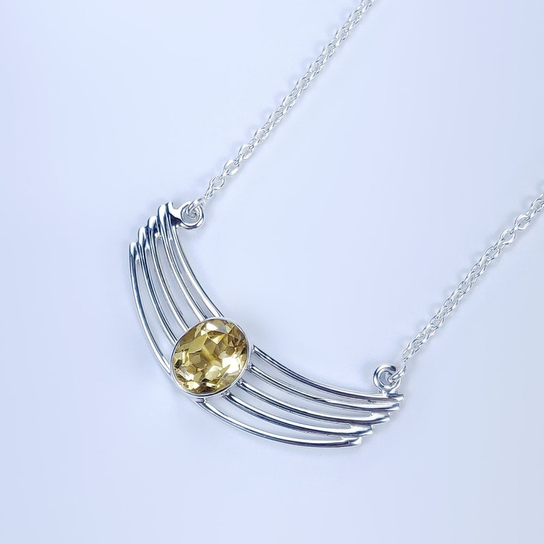 Citrine Cut Natural Gemstone 925 Solid Sterling Silver Handmade Necklace