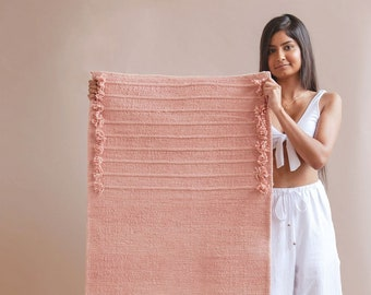 "Organic Cotton mat for yoga, meditation. Plant dyed, Handwoven, Non-slip backing, Washable. Yoga rug. 72"" (Pink, Blue, Yellow, Grey)"