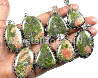 Wholesale Lot !!  Natural Unakite Jasper Pendants, Unkaite Jasper Gemstone Pendant Lot, Silver Plated Brass Pendant, Mix Shapes Pendants