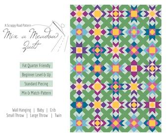 Mix a Meadow - Quilt Pattern PDF, Advanced Beginners, Fat Quarter Friendly