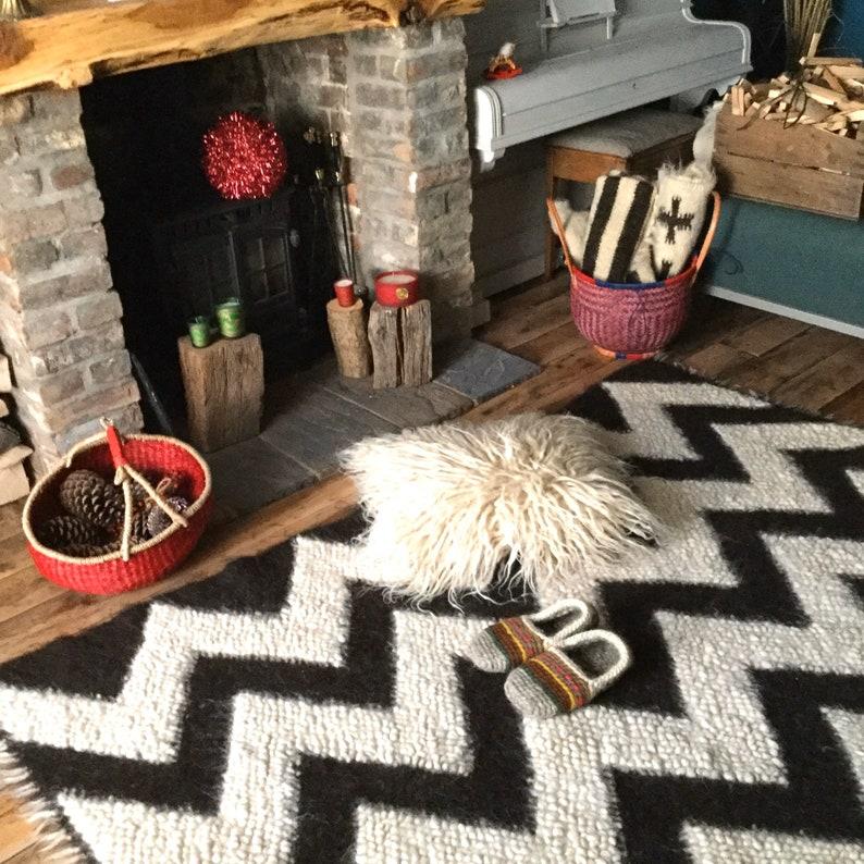 Shaggy Wool Cushion Sheepskin Look Hand Woven On Loom Custom Made