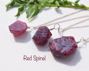 handmade high protection Raw spinel necklace pendant real single stone made in France