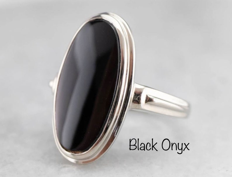 Silver Ring Black Onyx Round Ring in 925 Sterling Silver Jewelry Gemstone Ring Silver Ring Gift For Her Twisted Ring Birthstone Ring