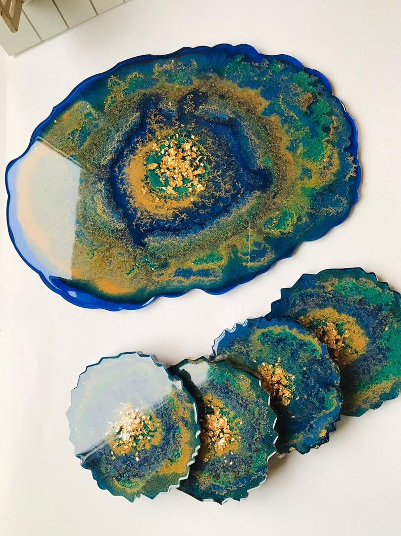 Resin Table Tray- Woodland Creek - Handmade Table Tray