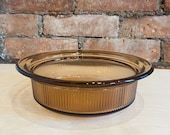 Vintage Vision Corning Smokey Brown Casserole Dish - 1QT - Model V-31-B - Oven, Microwave, Rangetop, Freezer - Made in USA