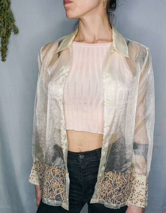 Vintage 1970s Sheer Blouse Size Small - Large