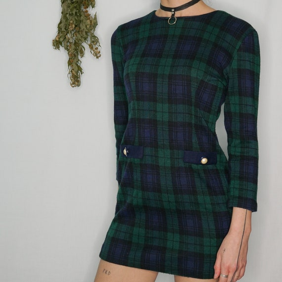 Vintage Plaid Green and Blue Dress Size Small - Me