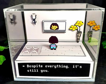 Undertale Despite Everything Cube Diorama - 3D Videogame - Gift for Gamer - Shadow Box - Miniature