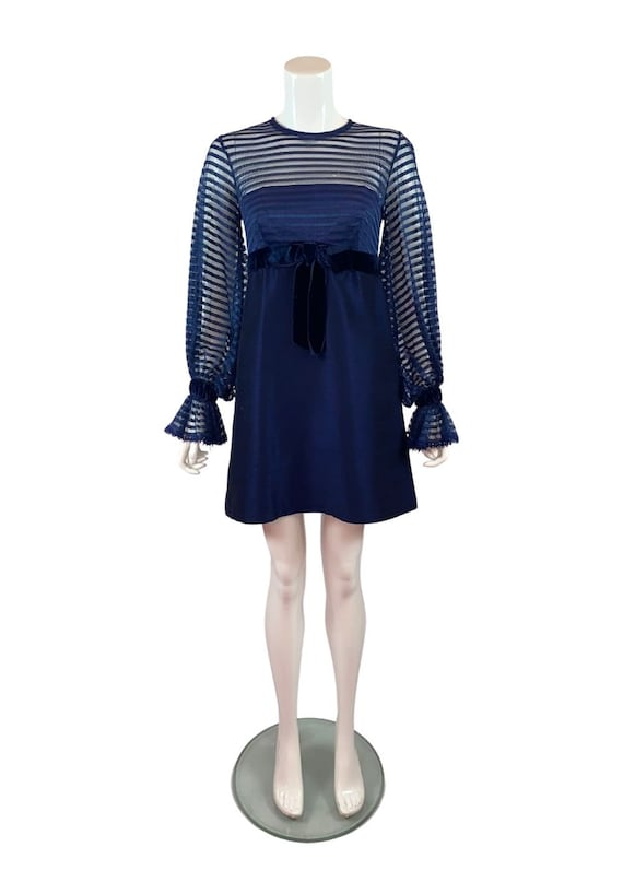 Vintage 1960s Jean Varon Navy Blue Dress