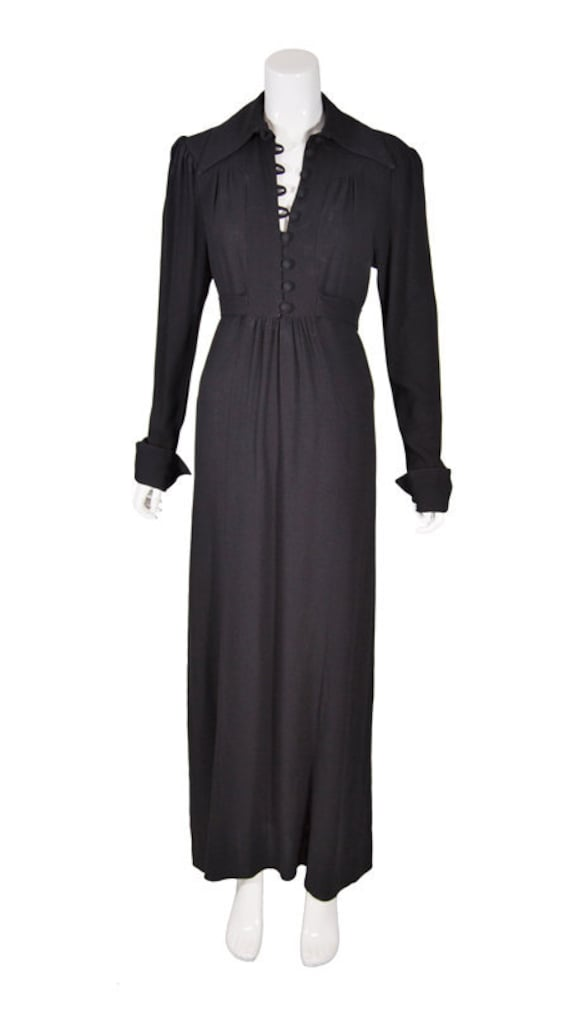 Vintage 1960s Black Moss Crepe Maxi Dress By Ossie
