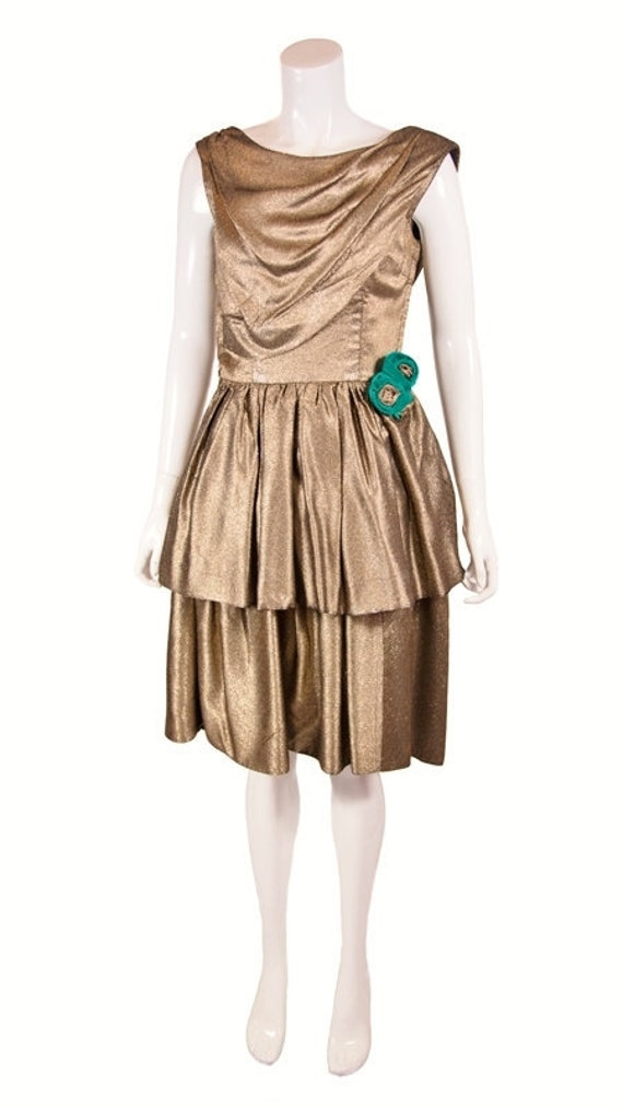 Vintage 1950s Gold Tiered Cocktail Dress