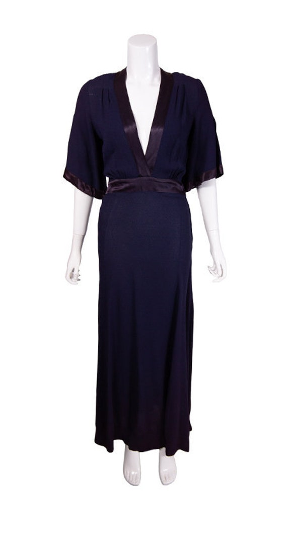 Vintage 1960s/1970s Navy Ossie Clark Evening Dress