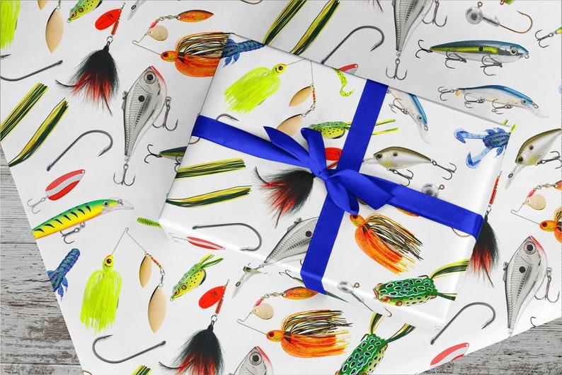 30 x 15/' Long FREE US SHIPPING 37.5 Square Feet Fishing Lure Gift Wrap