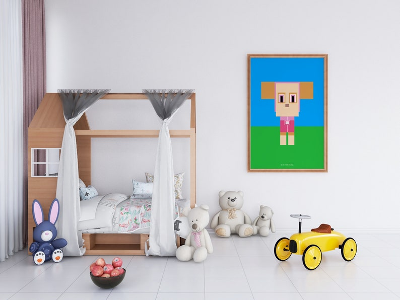 Photoshop Digital Art Kids Cartoon CGI\u2013animated children/'s television series Paw Patrol Minimal Block Poster Print
