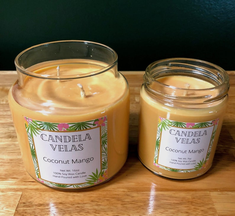 Coconut Mango Scented Candle Soy Candle Hand Made Candle Tropical Scented Candle Mango Candle