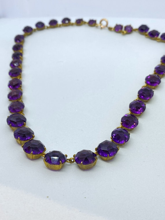 Edwardian Amethyst Paste Riviere Necklace