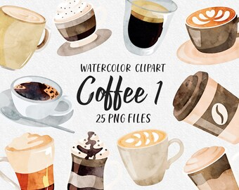 Coffee Latte Cafe Morning Watercolor Clip Art Coffee Beans Mug Cup of Joe Cup Steam Roast Java Mocha Hot Espresso Tea