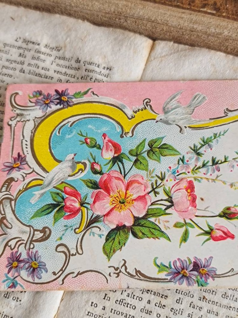 Vintage postcard Victorian greeting card French art nouveau pink lucky charm with designs of pink flowers and Victorian doves